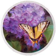 Lilacs And Swallowtail Butterfly Purple Flowers Garden Decor Painting  Round Beach Towel