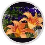 Lilies And Clematis Round Beach Towel