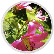 Lilies In The Garden Round Beach Towel by Sher Nasser