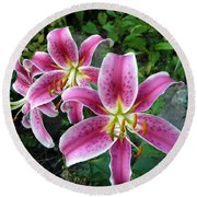 Round Beach Towel featuring the photograph Lilies Of The Field by Lingfai Leung