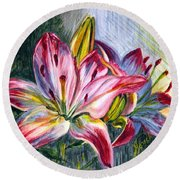 Round Beach Towel featuring the painting Lilies Twin by Harsh Malik