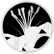 Round Beach Towel featuring the digital art Lilium Black And White  by Anthony Fishburne