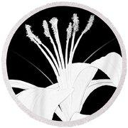 Lilium Black And White  Round Beach Towel by Anthony Fishburne