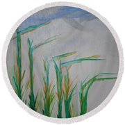 Lillies Of The Creek Round Beach Towel