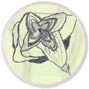 Round Beach Towel featuring the drawing Lilly Artistic Doodling Drawing by Joseph Baril