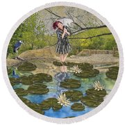Round Beach Towel featuring the digital art Lilly Pad Lane by Liane Wright