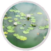 Round Beach Towel featuring the photograph Lilly Pads by Erika Weber