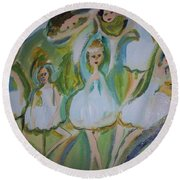 Round Beach Towel featuring the painting Lily Allegro Ballet by Judith Desrosiers