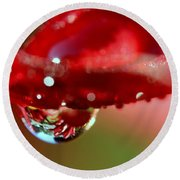 Round Beach Towel featuring the photograph Lily Droplets by Suzanne Stout