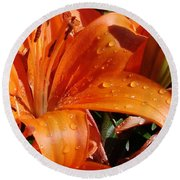 Lily Drops Round Beach Towel