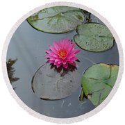 Lily Flower Round Beach Towel by Michael Porchik
