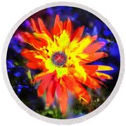 Lily In Vivd Colors Round Beach Towel