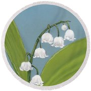 Lily Of The Valley Round Beach Towel