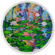 Lily Pond Colorful Reflections Round Beach Towel