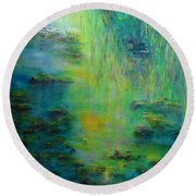 Lily Pond Tribute To Monet Round Beach Towel by Claire Bull