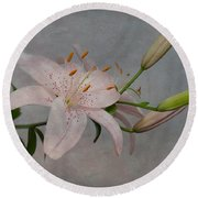 Round Beach Towel featuring the photograph Pink Lily With Texture by Patti Deters