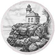 Lime Kiln Lighthouse Round Beach Towel