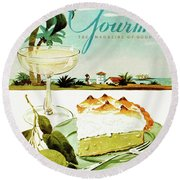 Lime Meringue Pie With Champagne Round Beach Towel