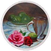 Round Beach Towel featuring the painting Limes And Roses by Jenny Lee