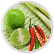 Limes, Chili Peppers And Lemon Grass Round Beach Towel