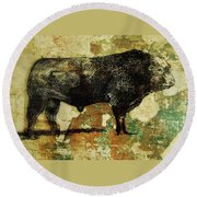 French Limousine Bull 11 Round Beach Towel
