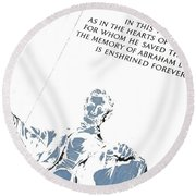 Lincoln In Shades Of Grey Round Beach Towel