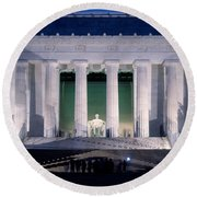 Lincoln Memorial At Dusk, Washington Round Beach Towel