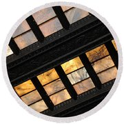Lincoln Memorial Stained Glass Round Beach Towel
