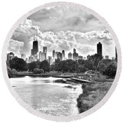 Lincoln Park Black And White Round Beach Towel