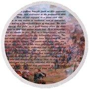 Lincoln's Gettysburg Address Round Beach Towel