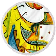 Round Beach Towel featuring the painting Linda Paloma by Stephen Lucas