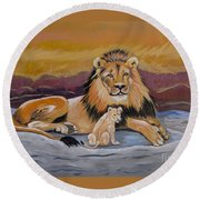 Round Beach Towel featuring the painting Lion And Cub by Phyllis Kaltenbach