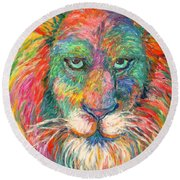 Lion Explosion Round Beach Towel by Kendall Kessler