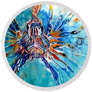 Lion Fish Blue Round Beach Towel