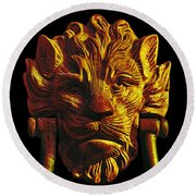 Lion Head Antique Door Knocker In Black And Gold Round Beach Towel by Jane McIlroy