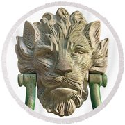 Lion Head Antique Door Knocker On White Round Beach Towel by Jane McIlroy