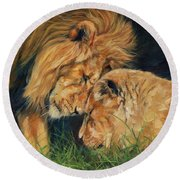 Lion  Love Round Beach Towel