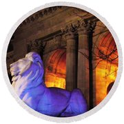 Lion Nyc Public Library Round Beach Towel