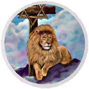 Lion Of Judah At The Cross Round Beach Towel