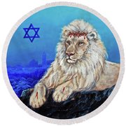 Lion Of Judah - Jerusalem Round Beach Towel