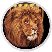 Lion Of Judah - Menorah Round Beach Towel