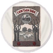 Round Beach Towel featuring the drawing Antique Lion Yarn Book by Peter Gumaer Ogden