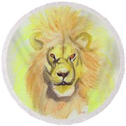 Lion Yellow Round Beach Towel by First Star Art