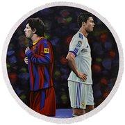Lionel Messi And Cristiano Ronaldo Round Beach Towel