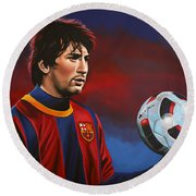 Lionel Messi  Round Beach Towel by Paul Meijering