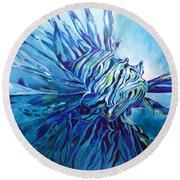 Lionfish Abstract Blue Round Beach Towel