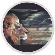 Lions Domain Round Beach Towel by Peter Suhocke
