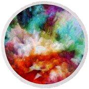 Round Beach Towel featuring the digital art Liquid Colors - Enamel Edition by Lilia D