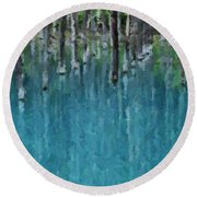 Liquid Forest Round Beach Towel