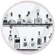 Liquor Bottles - Black And White Round Beach Towel
